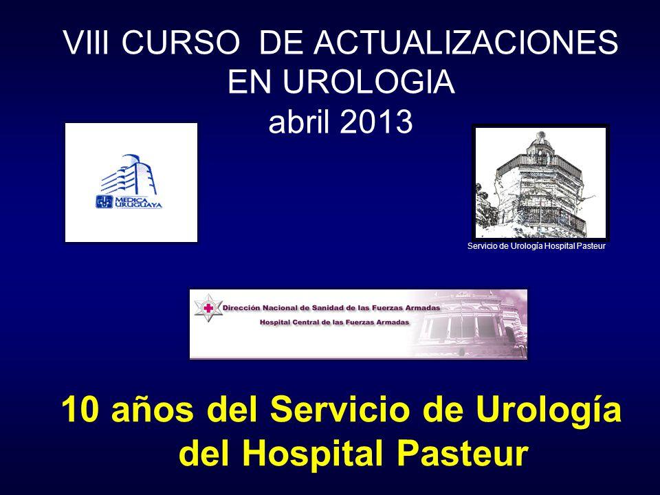 VIII CURSO DE ACTUALIZACIONES EN UROLOGIA abril 2013 10 años del Servicio de Urología del Hospital Pasteur Servicio de Urología Hospital Pasteur