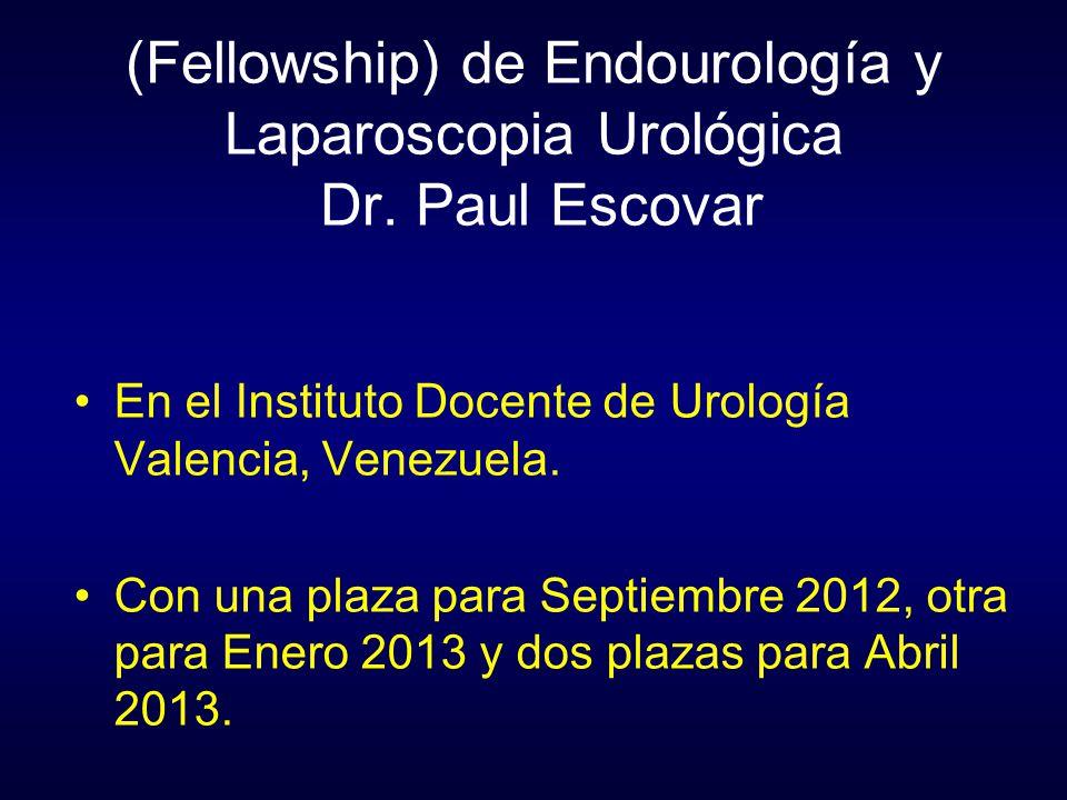 (Fellowship) de Endourología y Laparoscopia Urológica Dr. Paul Escovar En el Instituto Docente de Urología Valencia, Venezuela. Con una plaza para Sep