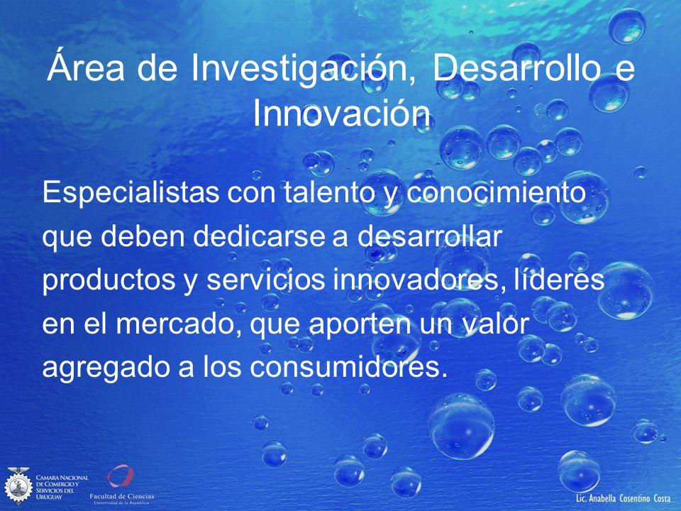 Área de Investigación, Desarrollo e Innovación Especialistas con talento y conocimiento que deben dedicarse a desarrollar productos y servicios innova