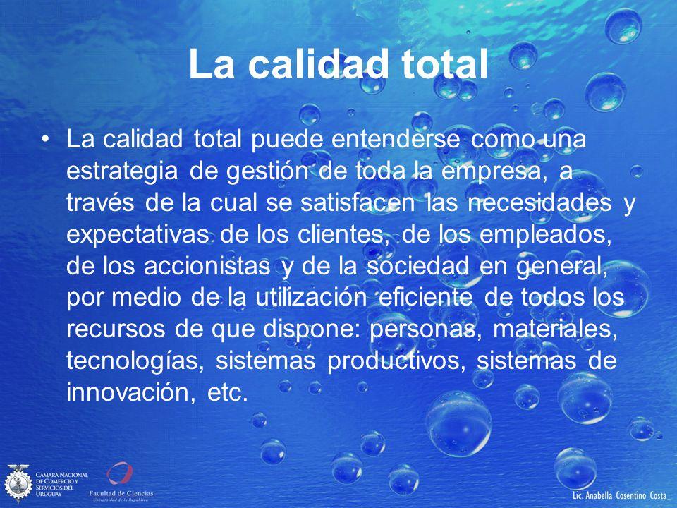 La calidad total La calidad total puede entenderse como una estrategia de gestión de toda la empresa, a través de la cual se satisfacen las necesidade