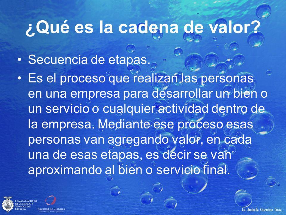 ¿Qué es la cadena de valor? Secuencia de etapas. Es el proceso que realizan las personas en una empresa para desarrollar un bien o un servicio o cualq