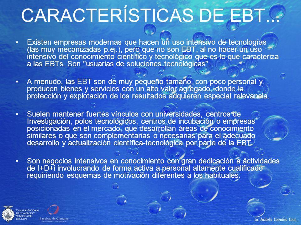 CARACTERÍSTICAS DE EBT... Existen empresas modernas que hacen un uso intensivo de tecnologías (las muy mecanizadas p.ej.), pero que no son EBT, al no