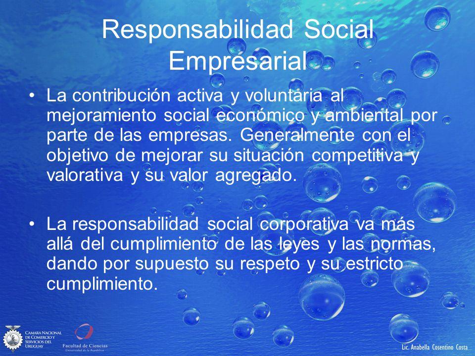 Responsabilidad Social Empresarial La contribución activa y voluntaria al mejoramiento social económico y ambiental por parte de las empresas. General