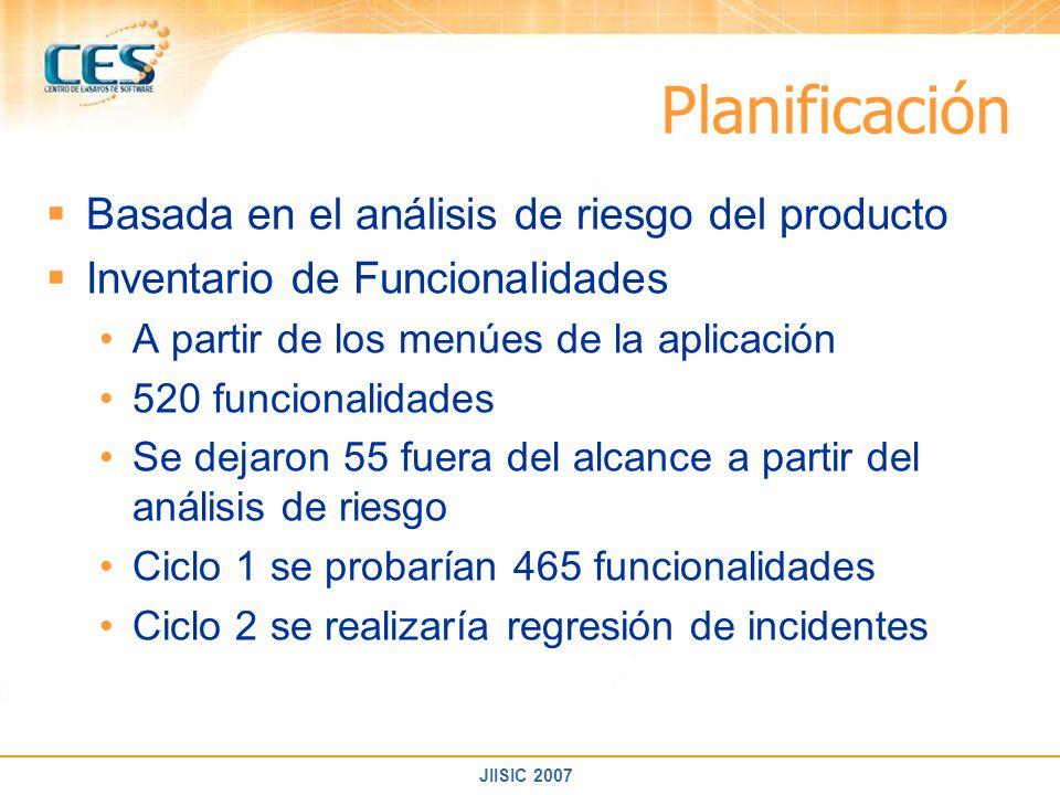 JIISIC 2007 Planificación Basada en el análisis de riesgo del producto Inventario de Funcionalidades A partir de los menúes de la aplicación 520 funci