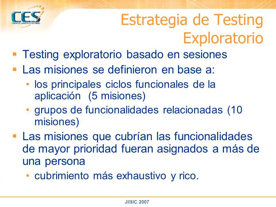 JIISIC 2007 Estrategia de Testing Exploratorio Testing exploratorio basado en sesiones Las misiones se definieron en base a: los principales ciclos fu