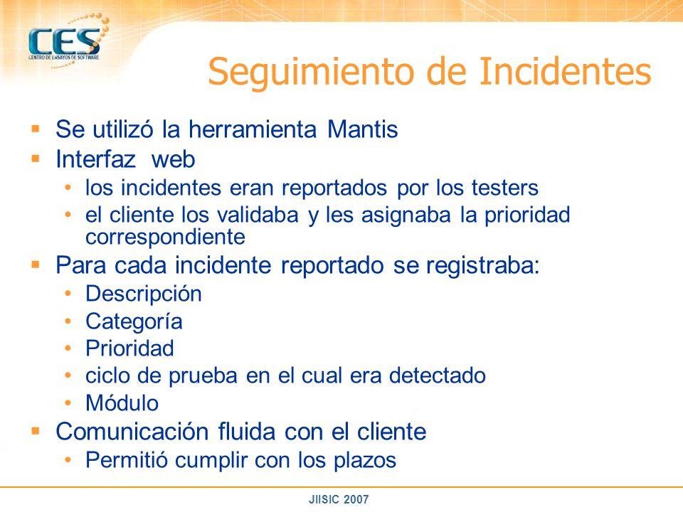 JIISIC 2007 Seguimiento de Incidentes Se utilizó la herramienta Mantis Interfaz web los incidentes eran reportados por los testers el cliente los vali