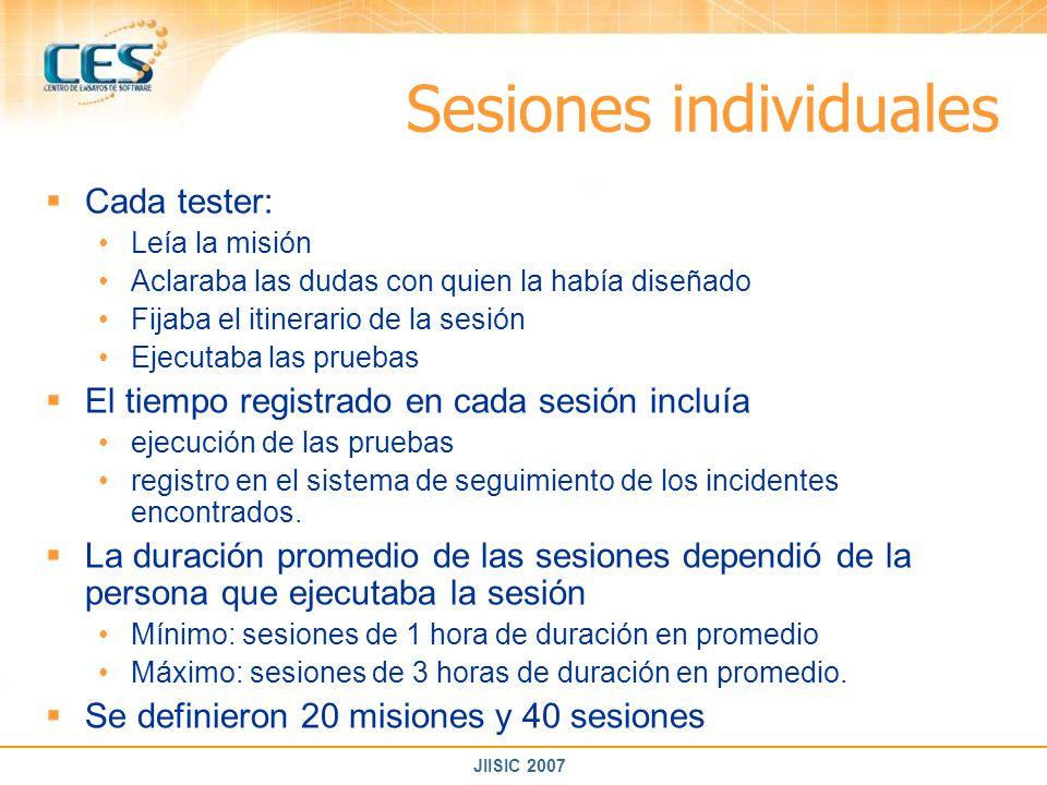 JIISIC 2007 Sesiones individuales Cada tester: Leía la misión Aclaraba las dudas con quien la había diseñado Fijaba el itinerario de la sesión Ejecuta