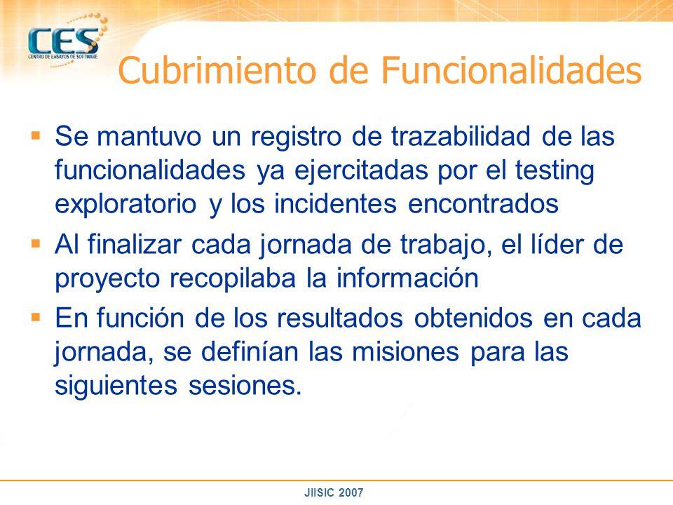 JIISIC 2007 Cubrimiento de Funcionalidades Se mantuvo un registro de trazabilidad de las funcionalidades ya ejercitadas por el testing exploratorio y