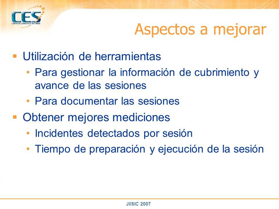 JIISIC 2007 Aspectos a mejorar Utilización de herramientas Para gestionar la información de cubrimiento y avance de las sesiones Para documentar las s