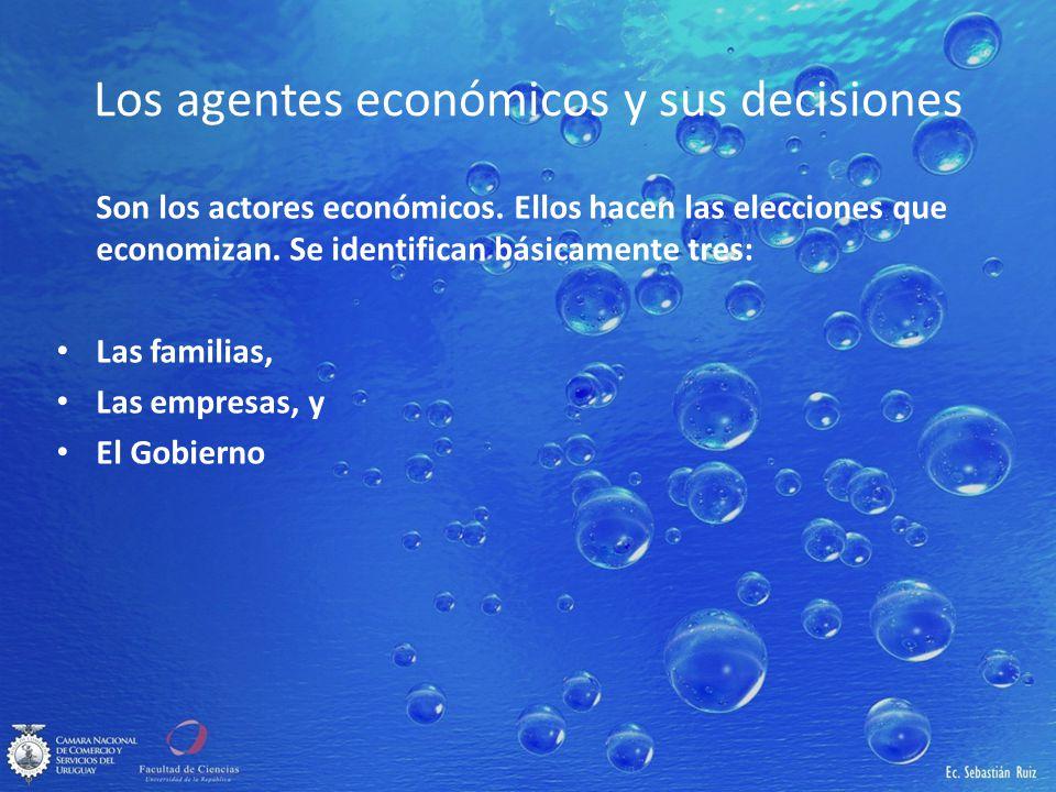 Los agentes económicos y sus decisiones Son los actores económicos. Ellos hacen las elecciones que economizan. Se identifican básicamente tres: Las fa