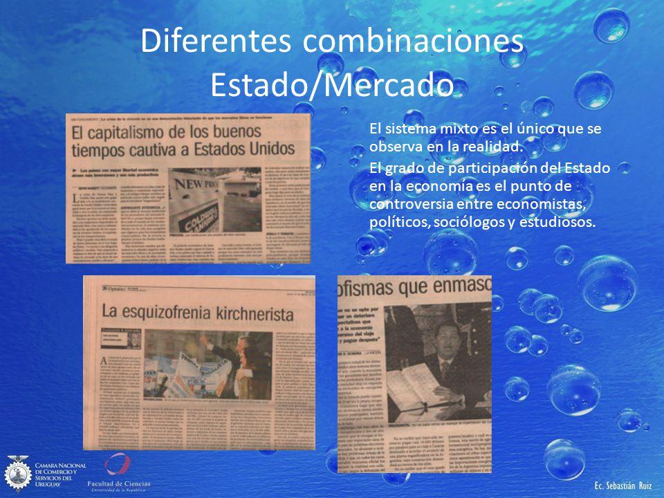 Diferentes combinaciones Estado/Mercado El sistema mixto es el único que se observa en la realidad. El grado de participación del Estado en la economí