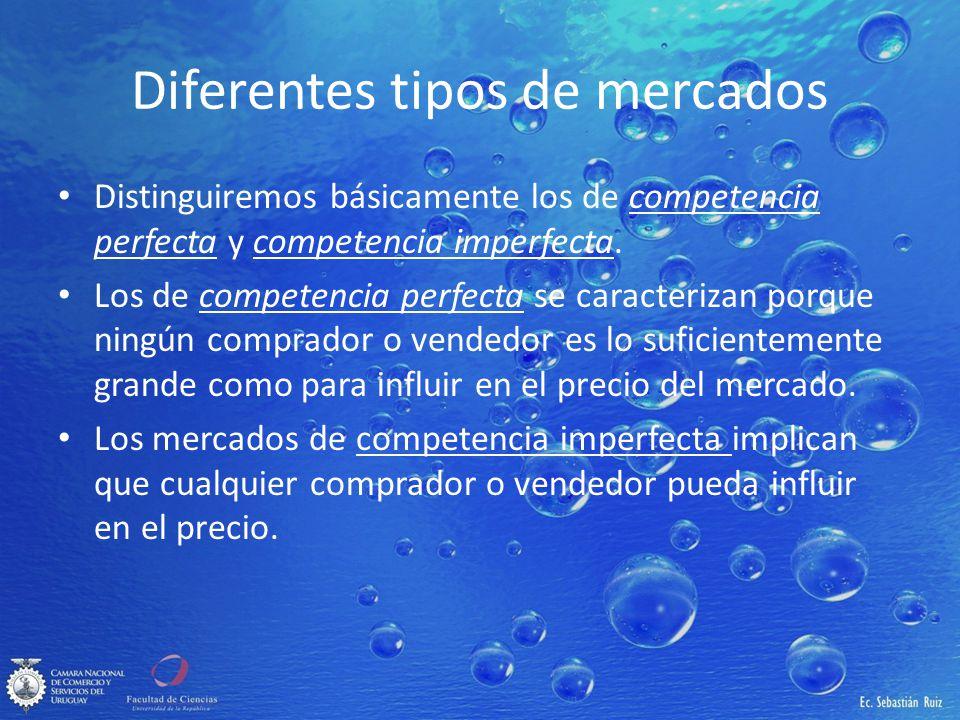 Diferentes tipos de mercados Distinguiremos básicamente los de competencia perfecta y competencia imperfecta. Los de competencia perfecta se caracteri