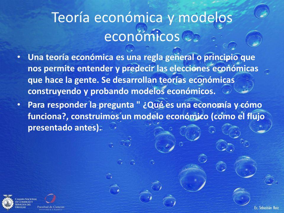 Teoría económica y modelos económicos Una teoría económica es una regla general o principio que nos permite entender y predecir las elecciones económi