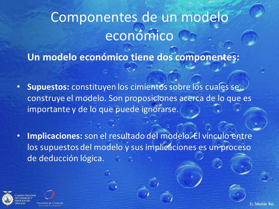 Componentes de un modelo económico Un modelo económico tiene dos componentes: Supuestos: constituyen los cimientos sobre los cuales se construye el mo