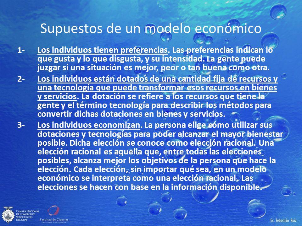 Supuestos de un modelo económico 1-Los individuos tienen preferencias. Las preferencias indican lo que gusta y lo que disgusta, y su intensidad. La ge