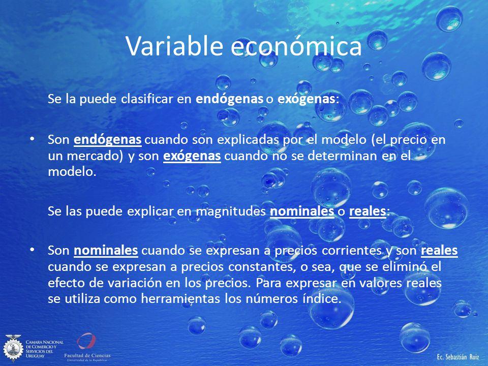 Variable económica Se la puede clasificar en endógenas o exógenas: Son endógenas cuando son explicadas por el modelo (el precio en un mercado) y son e