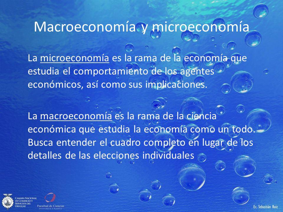 Macroeconomía y microeconomía La microeconomía es la rama de la economía que estudia el comportamiento de los agentes económicos, así como sus implica