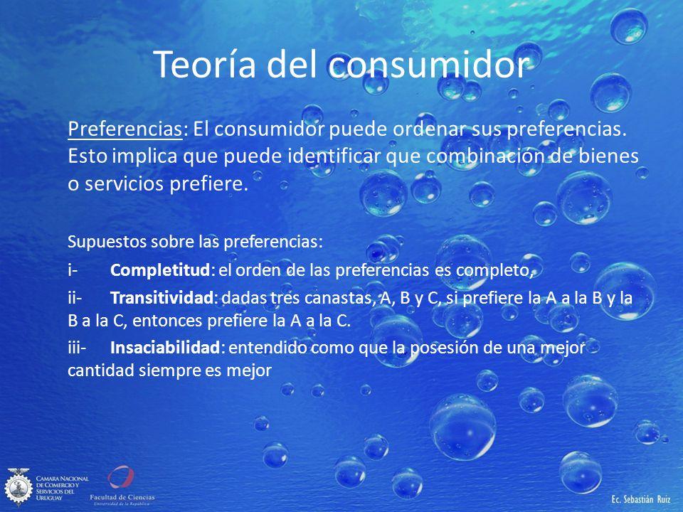 Teoría del consumidor Preferencias: El consumidor puede ordenar sus preferencias. Esto implica que puede identificar que combinación de bienes o servi