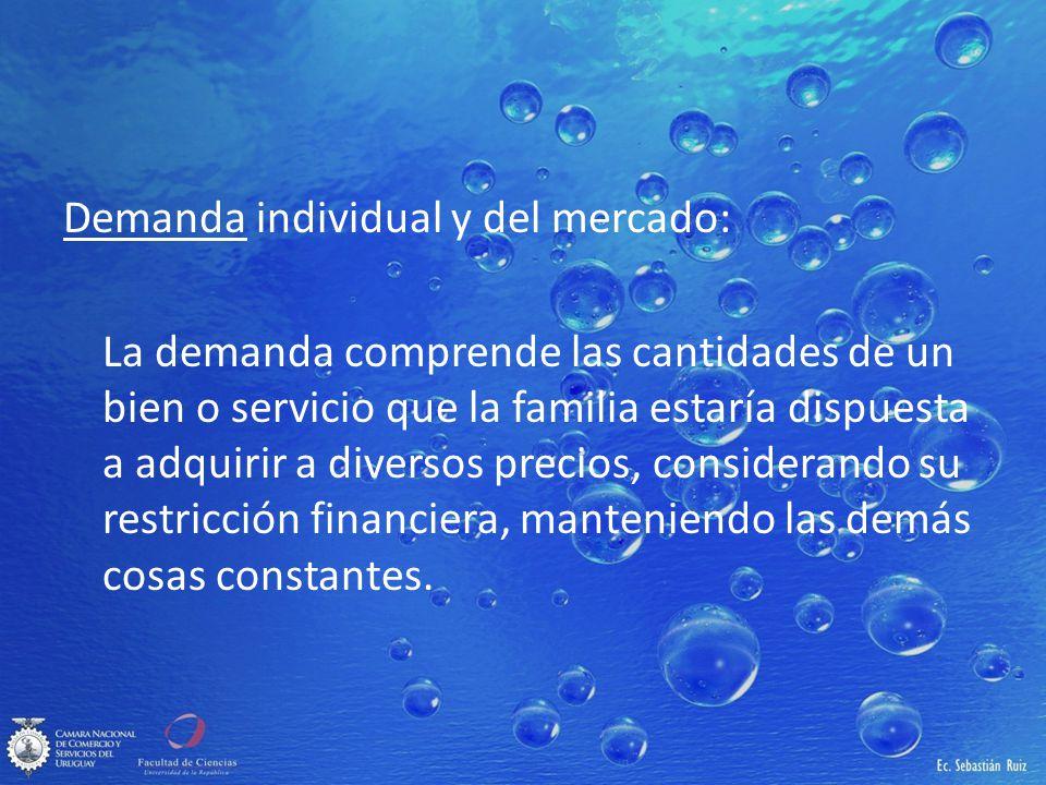 Demanda individual y del mercado: La demanda comprende las cantidades de un bien o servicio que la familia estaría dispuesta a adquirir a diversos pre