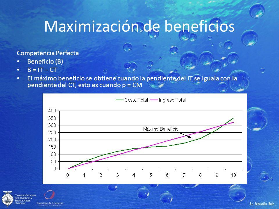 Maximización de beneficios Competencia Perfecta Beneficio (B) B = IT – CT El máximo beneficio se obtiene cuando la pendiente del IT se iguala con la p