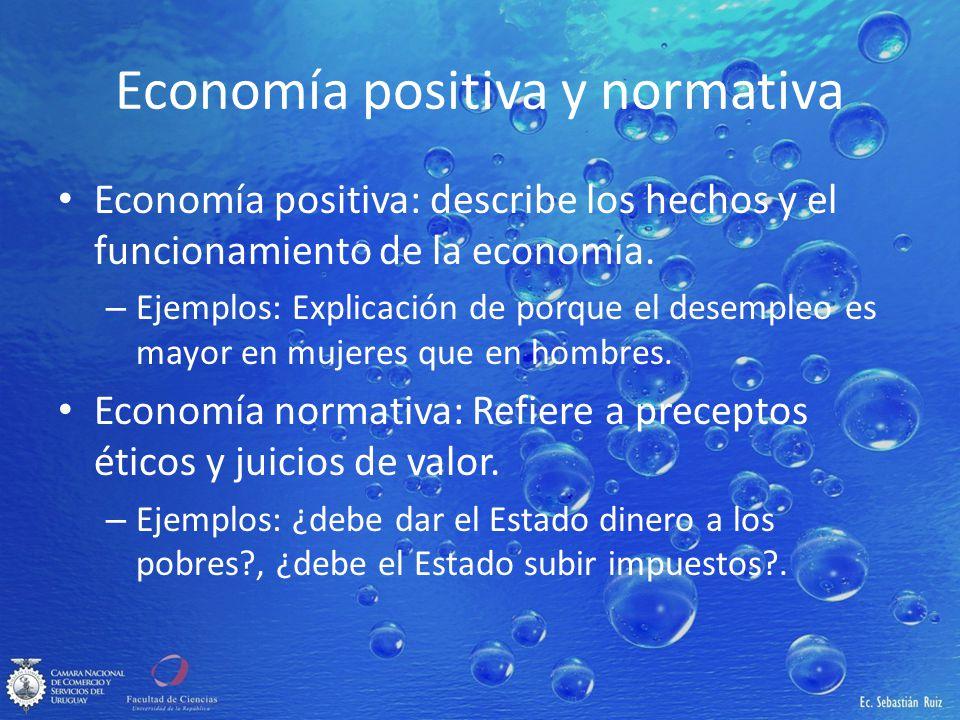 Economía positiva y normativa Economía positiva: describe los hechos y el funcionamiento de la economía. – Ejemplos: Explicación de porque el desemple