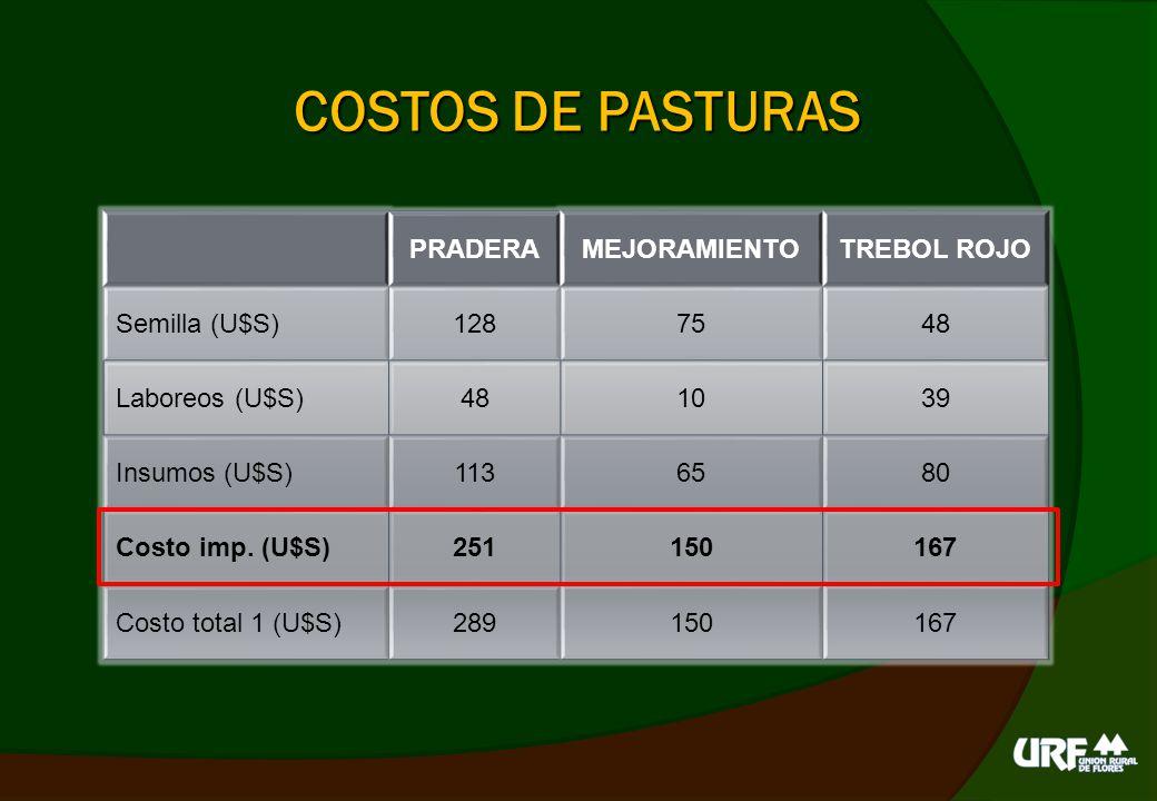 COSTOS DE PASTURAS AVENARAIGRASTRIGO Semilla (U$S)503245 Laboreos (U$S)58 Insumos (U$S)117 Costo imp.