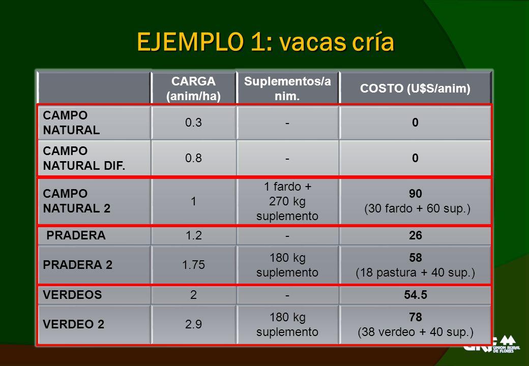 EJEMPLO 2: terneros CARGA (anim/ha) Suplementos/anim.