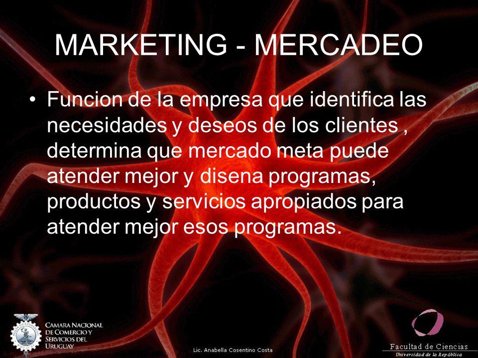 MARKETING - MERCADEO Funcion de la empresa que identifica las necesidades y deseos de los clientes, determina que mercado meta puede atender mejor y d
