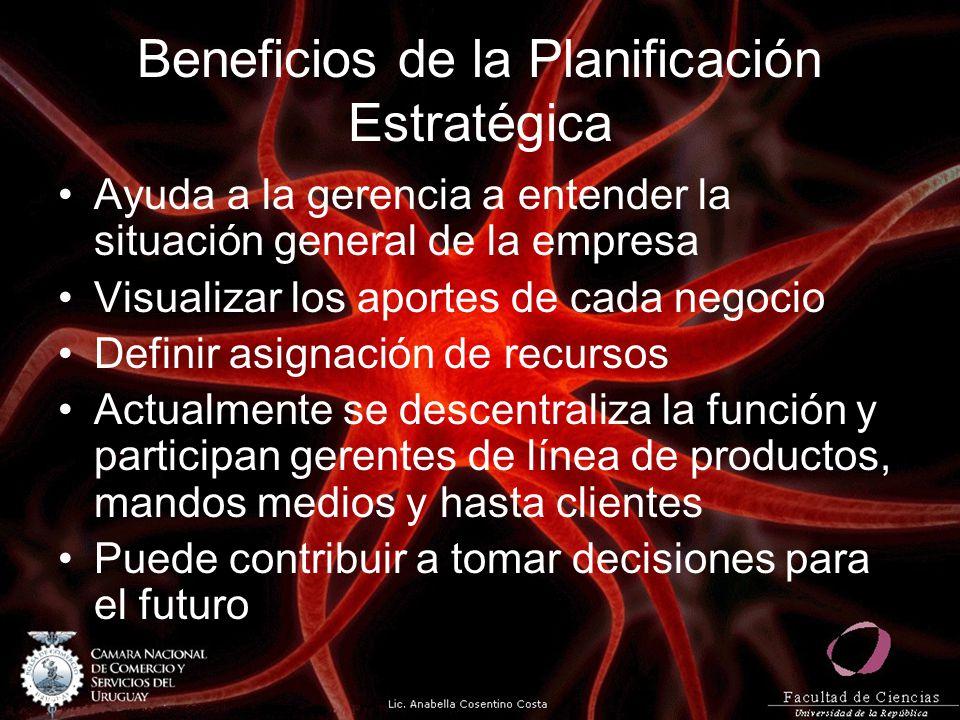 Beneficios de la Planificación Estratégica Ayuda a la gerencia a entender la situación general de la empresa Visualizar los aportes de cada negocio De