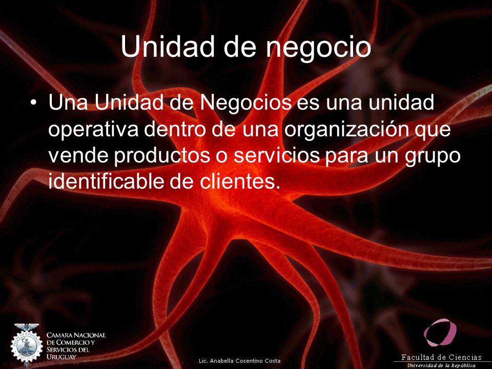 Unidad de negocio Una Unidad de Negocios es una unidad operativa dentro de una organización que vende productos o servicios para un grupo identificabl