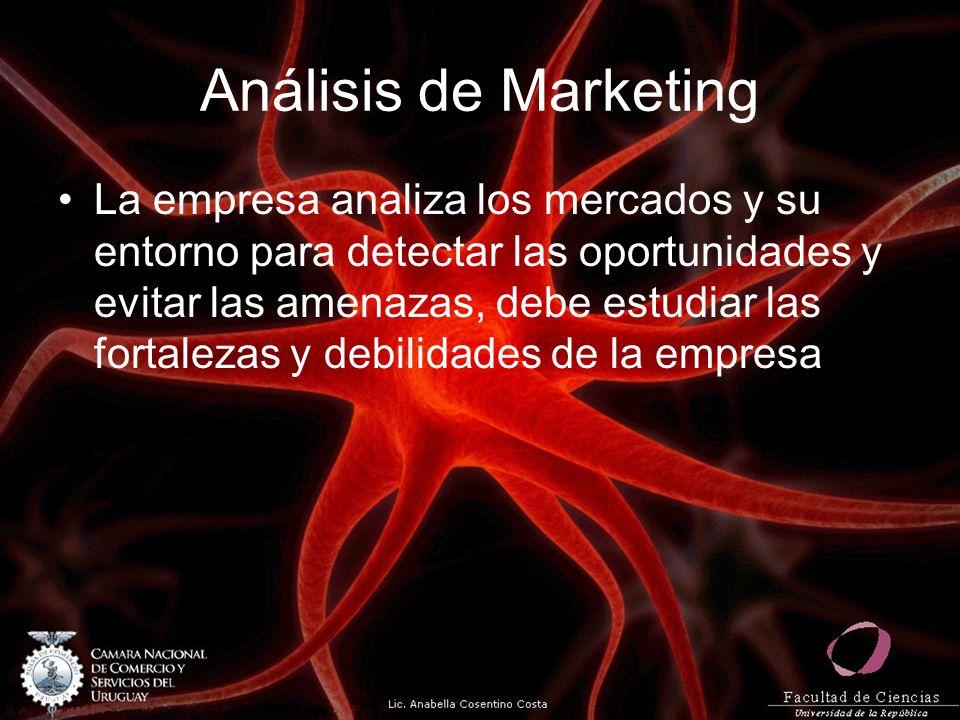 Análisis de Marketing La empresa analiza los mercados y su entorno para detectar las oportunidades y evitar las amenazas, debe estudiar las fortalezas