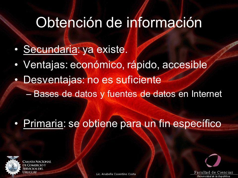 Obtención de información Secundaria: ya existe. Ventajas: económico, rápido, accesible Desventajas: no es suficiente –Bases de datos y fuentes de dato