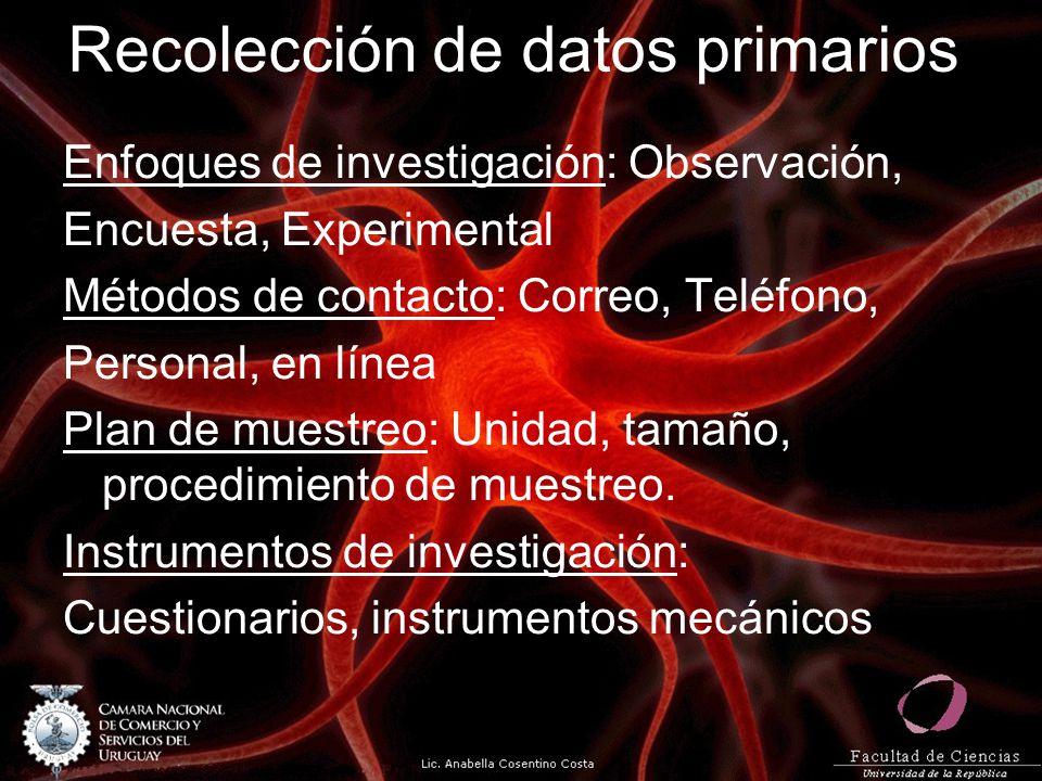 Recolección de datos primarios Enfoques de investigación: Observación, Encuesta, Experimental Métodos de contacto: Correo, Teléfono, Personal, en líne