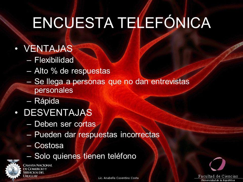 ENCUESTA TELEFÓNICA VENTAJAS –Flexibilidad –Alto % de respuestas –Se llega a personas que no dan entrevistas personales –Rápida DESVENTAJAS –Deben ser