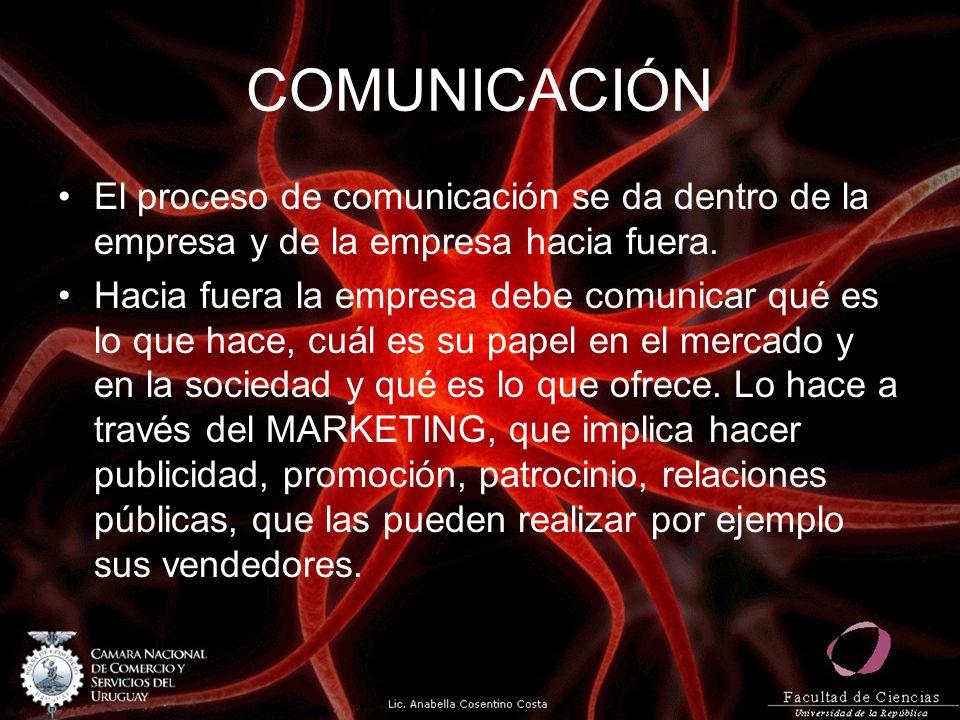 COMUNICACIÓN El proceso de comunicación se da dentro de la empresa y de la empresa hacia fuera. Hacia fuera la empresa debe comunicar qué es lo que ha