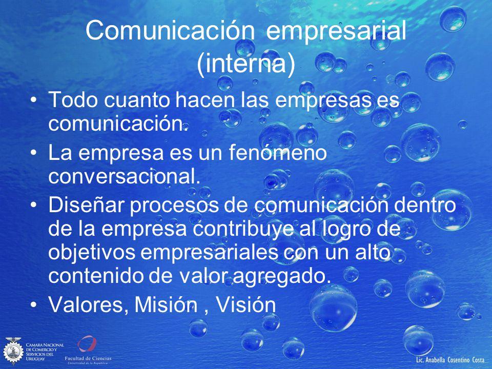 Comunicación empresarial (interna) Todo cuanto hacen las empresas es comunicación. La empresa es un fenómeno conversacional. Diseñar procesos de comun