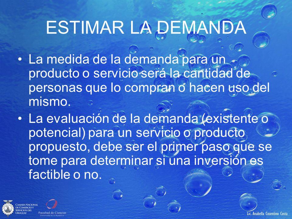 ESTIMAR LA DEMANDA La medida de la demanda para un producto o servicio será la cantidad de personas que lo compran o hacen uso del mismo. La evaluació