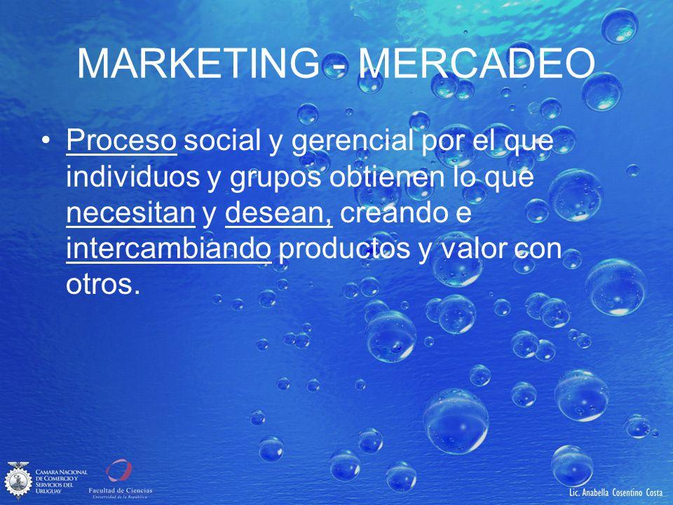 MARKETING - MERCADEO Proceso social y gerencial por el que individuos y grupos obtienen lo que necesitan y desean, creando e intercambiando productos