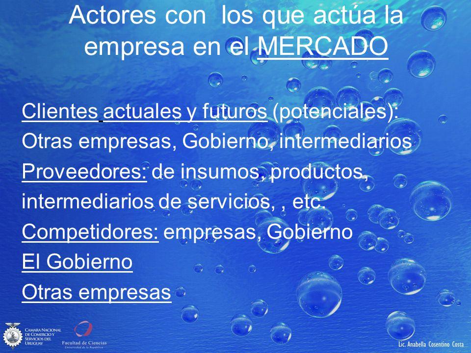 Actores con los que actúa la empresa en el MERCADO Clientes actuales y futuros (potenciales): Otras empresas, Gobierno, intermediarios Proveedores: de