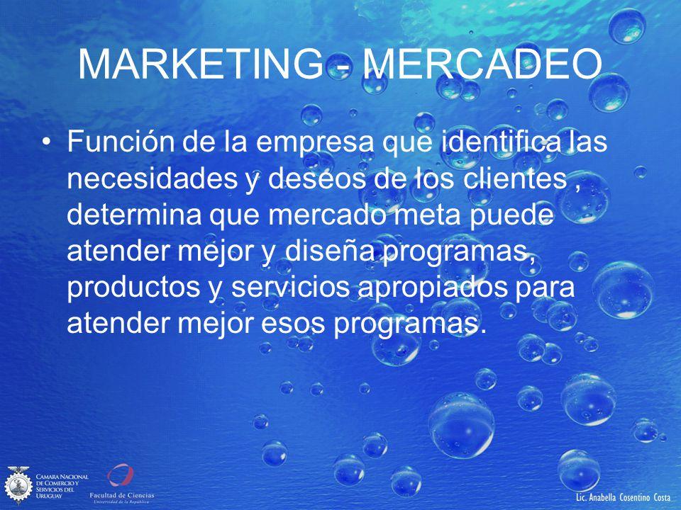 MARKETING - MERCADEO Función de la empresa que identifica las necesidades y deseos de los clientes, determina que mercado meta puede atender mejor y d