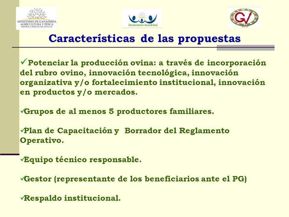 Características de las propuestas Potenciar la producción ovina: a través de incorporación del rubro ovino, innovación tecnológica, innovación organiz