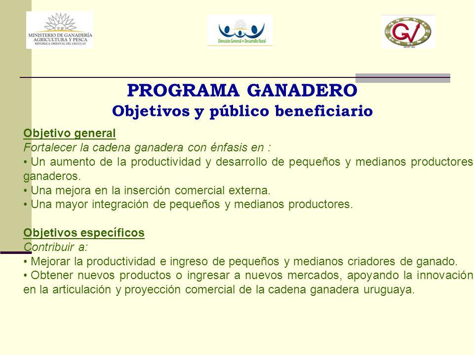 PROGRAMA GANADERO Objetivos y público beneficiario Objetivo general Fortalecer la cadena ganadera con énfasis en : Un aumento de la productividad y de