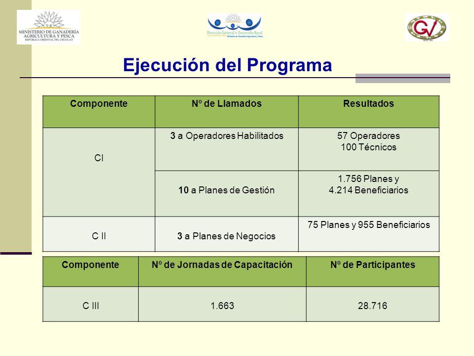 Ejecución del Programa ComponenteNº de LlamadosResultados CI 3 a Operadores Habilitados57 Operadores 100 Técnicos 10 a Planes de Gestión 1.756 Planes