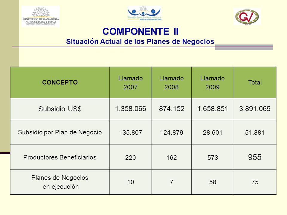 COMPONENTE II Situación Actual de los Planes de Negocios CONCEPTO Llamado 2007 Llamado 2008 Llamado 2009 Total Subsidio US$ 1.358.066874.1521.658.8513