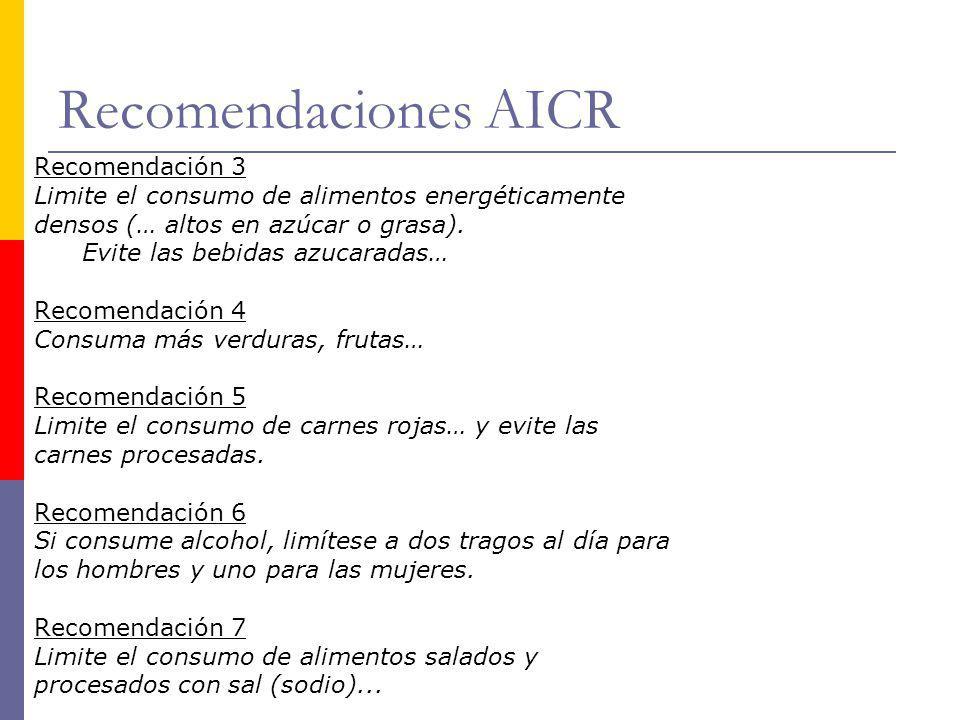 Recomendaciones AICR Recomendación 3 Limite el consumo de alimentos energéticamente densos (… altos en azúcar o grasa). Evite las bebidas azucaradas…