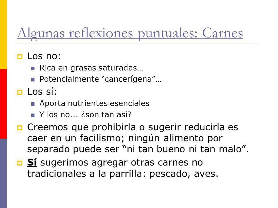 Algunas reflexiones puntuales: Carnes Los no: Rica en grasas saturadas… Potencialmente cancerígena… Los sí: Aporta nutrientes esenciales Y los no... ¿