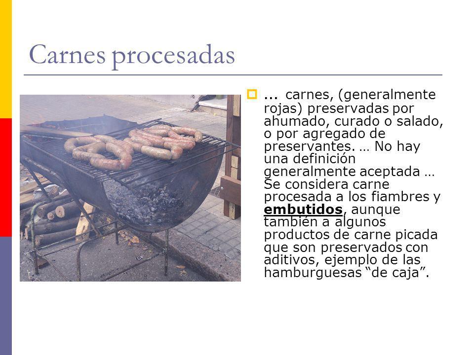 Carnes procesadas … carnes, (generalmente rojas) preservadas por ahumado, curado o salado, o por agregado de preservantes. … No hay una definición gen