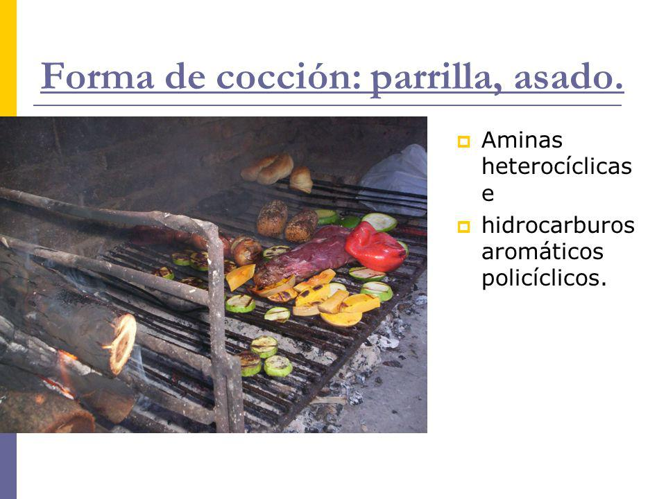 Forma de cocción: parrilla, asado. Aminas heterocíclicas e hidrocarburos aromáticos policíclicos.
