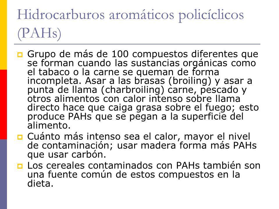 Hidrocarburos aromáticos policíclicos (PAHs) Grupo de más de 100 compuestos diferentes que se forman cuando las sustancias orgánicas como el tabaco o
