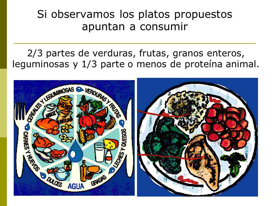 Si observamos los platos propuestos apuntan a consumir 2/3 partes de verduras, frutas, granos enteros, leguminosas y 1/3 parte o menos de proteína ani